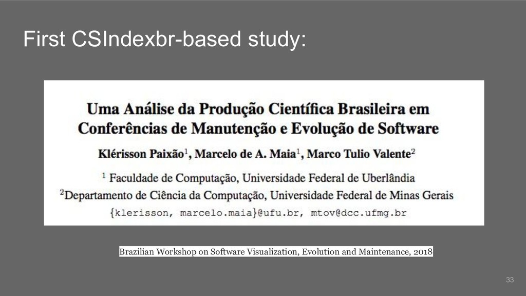 First CSIndexbr-based study: Brazilian Workshop...