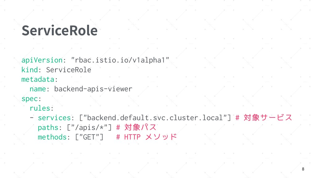 "ServiceRole apiVersion: ""rbac.istio.io/v1alpha1..."