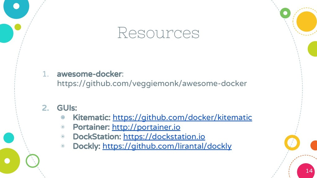 Resources 14 1. awesome-docker: https://github....