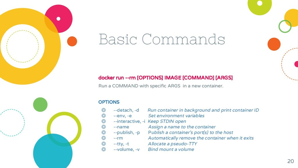 Basic Commands docker run --rm [OPTIONS] IMAGE ...