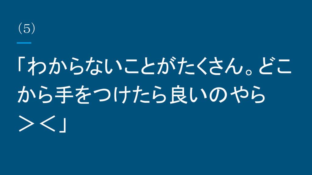 (5) 「わからないことがたくさん。どこ から手をつけたら良いのやら ><」