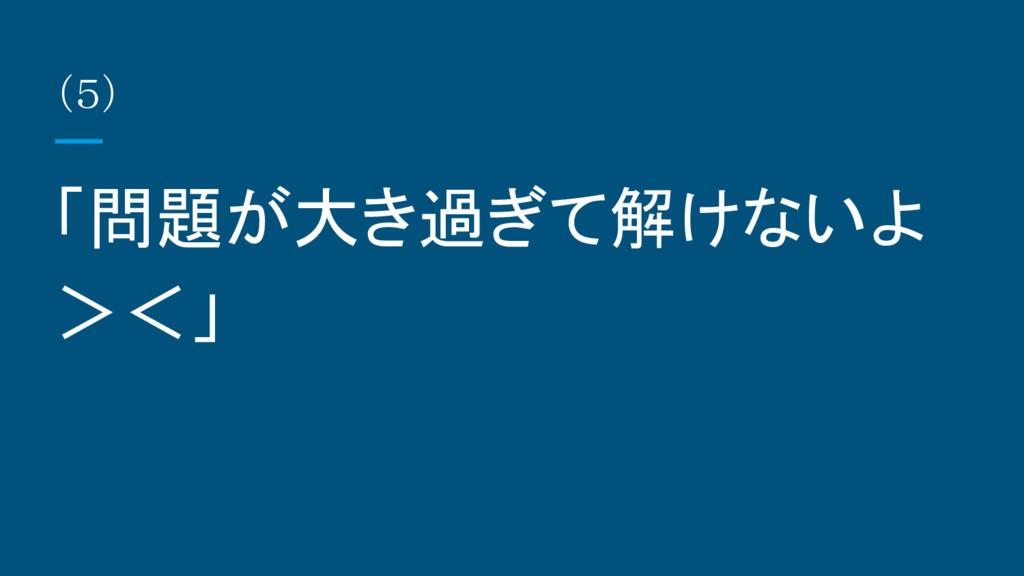 (5) 「問題が大き過ぎて解けないよ ><」