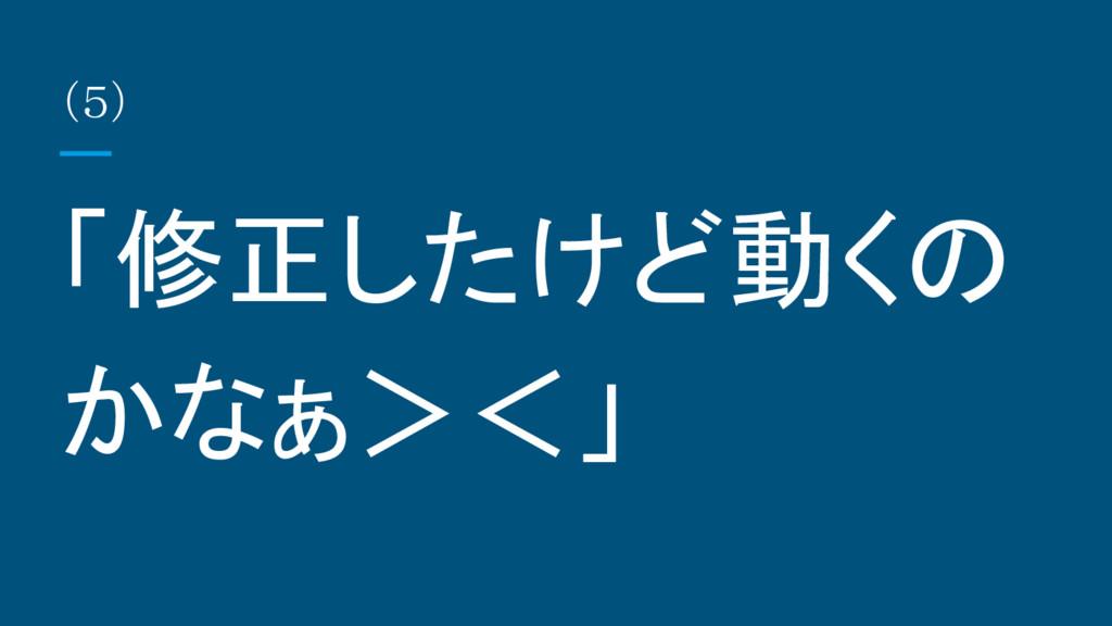 (5) 「修正したけど動くの かなぁ><」