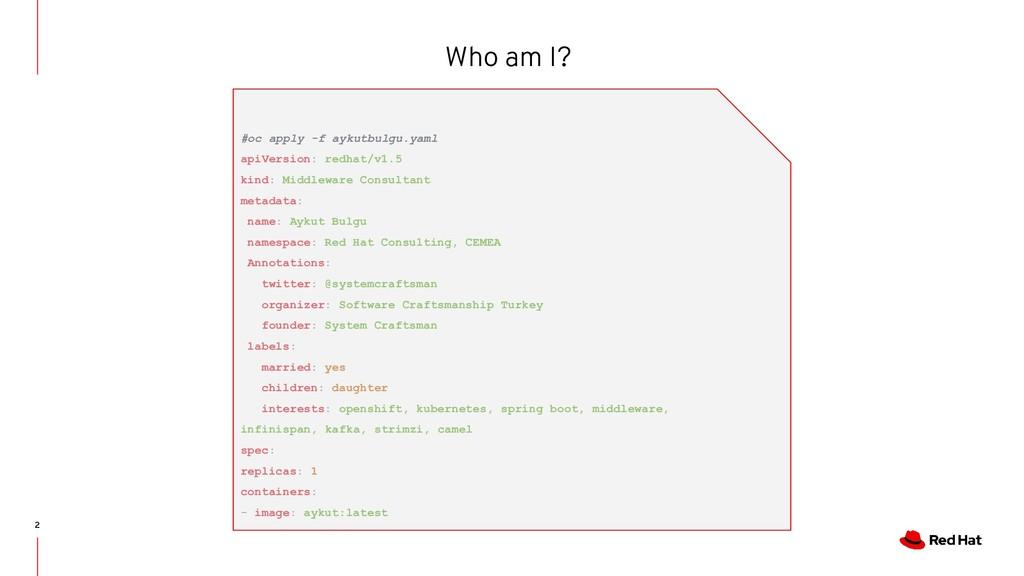 2 Who am I? #oc apply -f aykutbulgu.yaml apiVer...