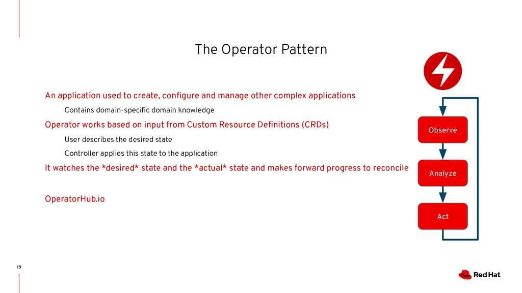 The Operator Pattern 19 An application used to ...