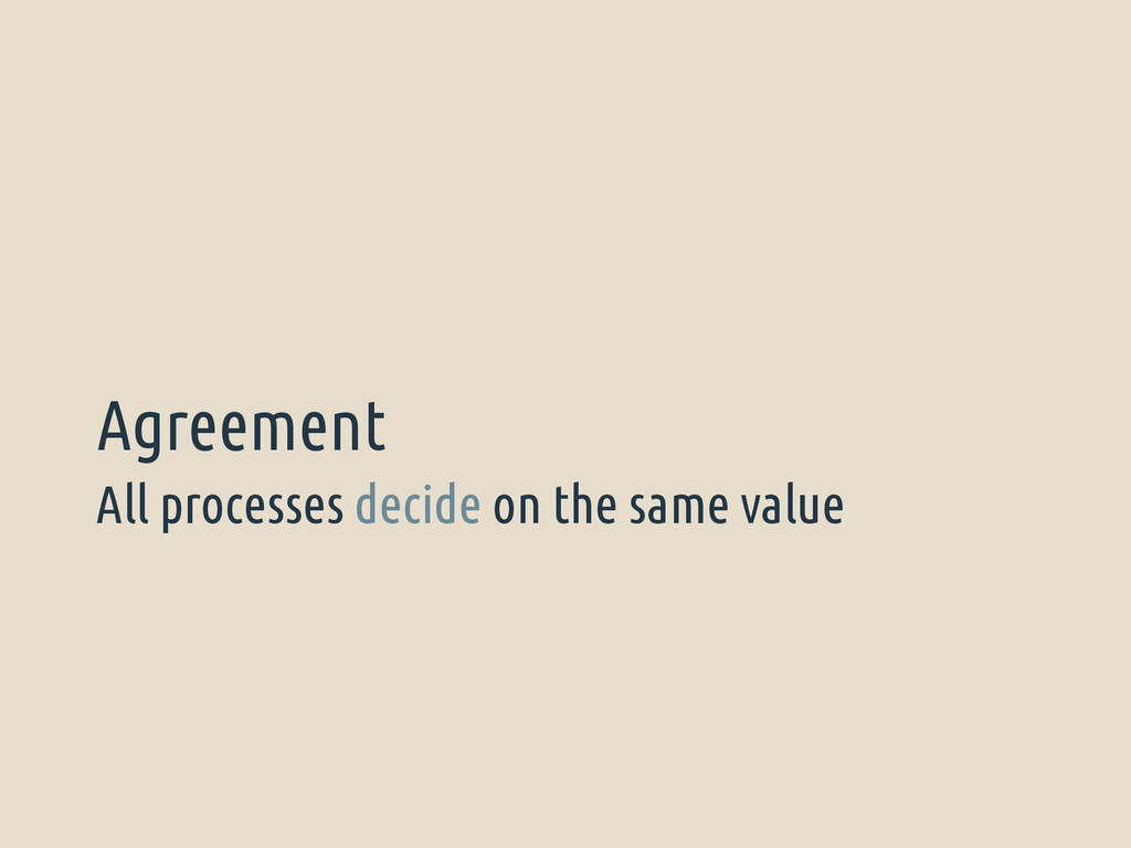 All processes decide on the same value Agreement