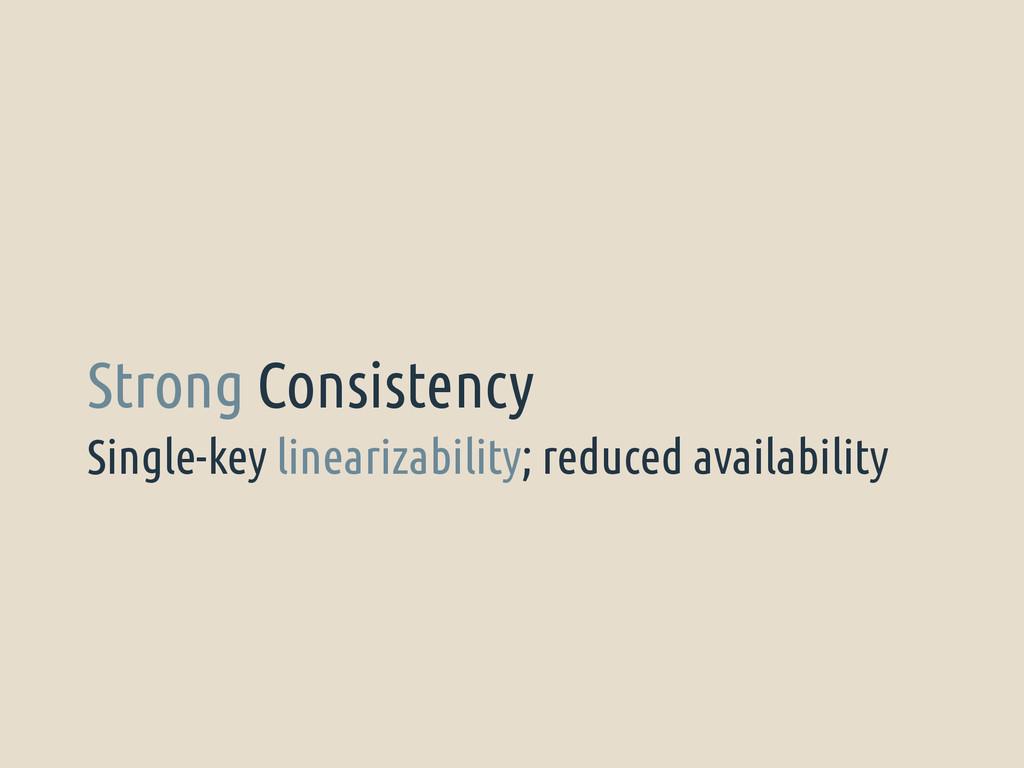 Single-key linearizability; reduced availabilit...