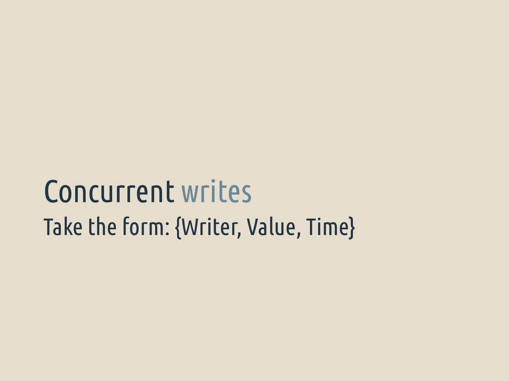 Take the form: {Writer, Value, Time} Concurrent...