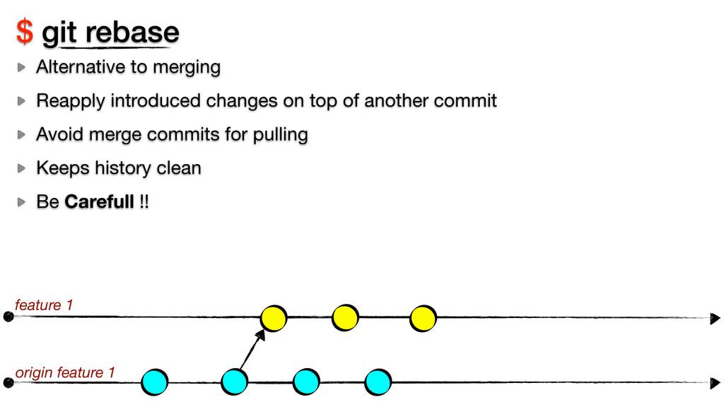 $ git rebase Alternative to merging Reapply int...