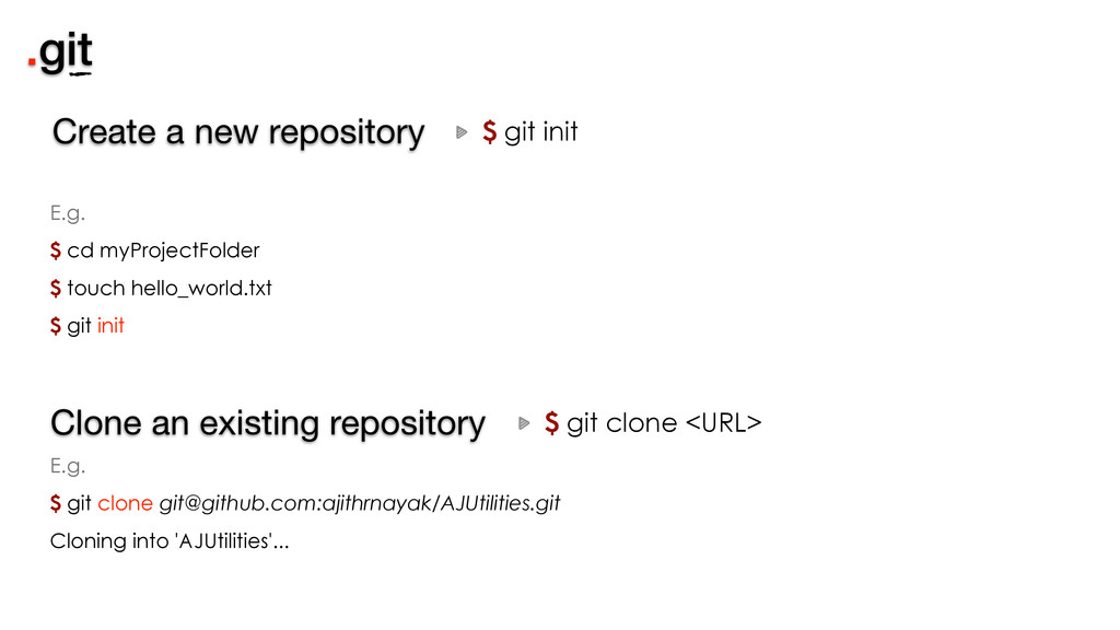 .git $ git init Create a new repository $ git c...