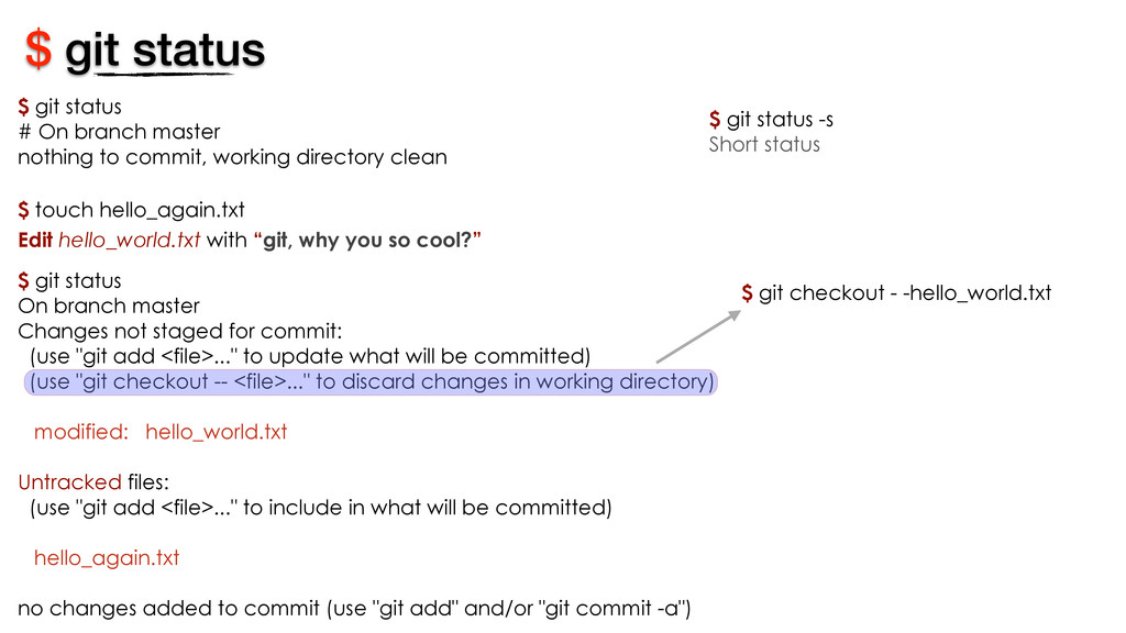 $ git status On branch master Changes not stage...