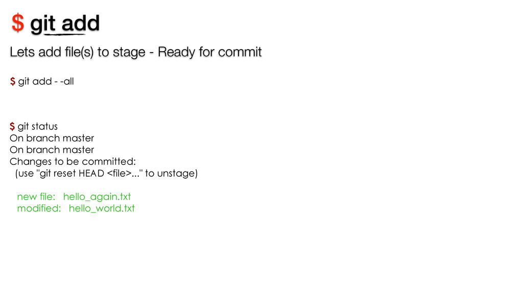 $ git add Lets add file(s) to stage - Ready for ...