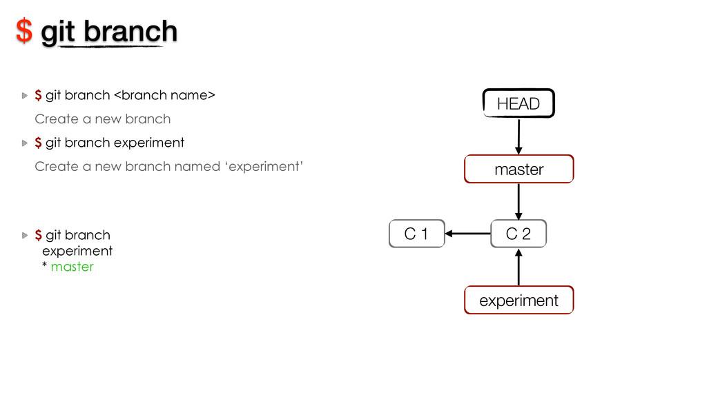 $ git branch <branch name> Create a new branch ...