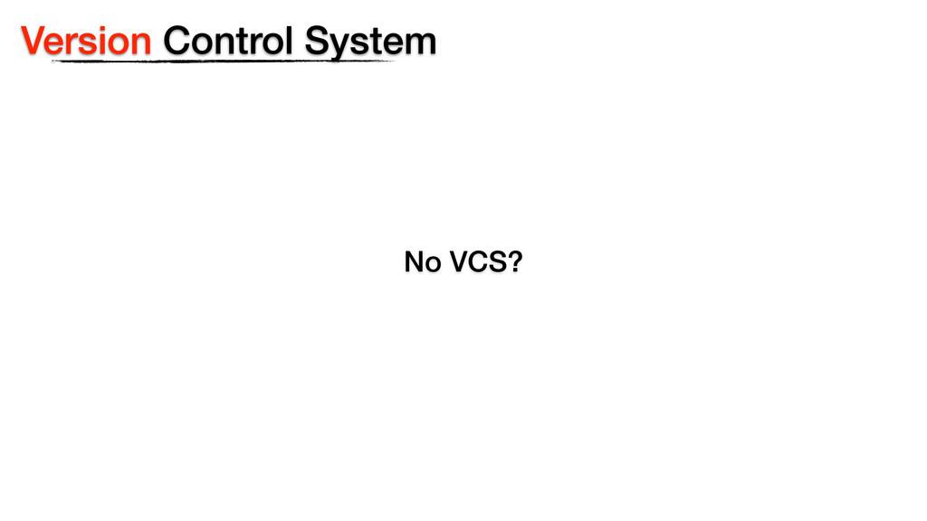 Version Control System No VCS?