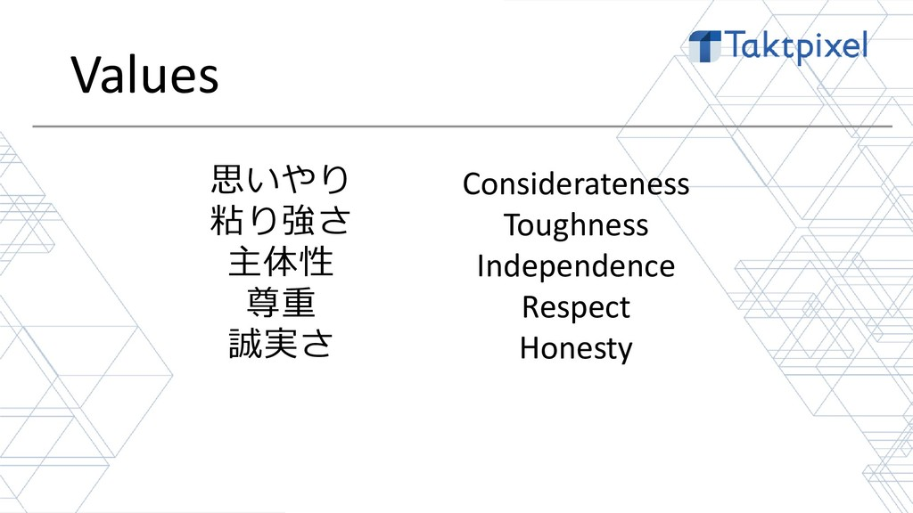 Values 16 思いやり 粘り強さ 主体性 尊重 誠実さ Considerateness ...