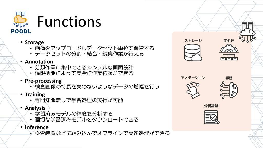 Functions • Storage • 画像をアップロードしデータセット単位で保管する •...