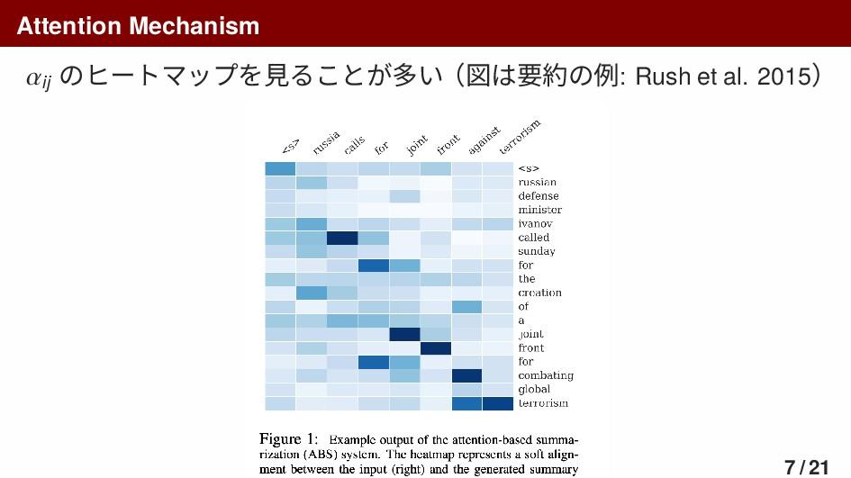Attention Mechanism 𝛼ij のヒートマップを見ることが多い(図は要約の例:...