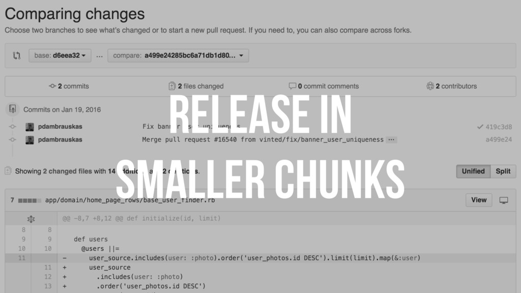 RELEASE IN SMALLER CHUNKS