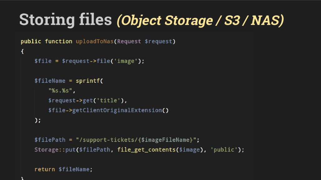 Storing files (Object Storage / S3 / NAS)