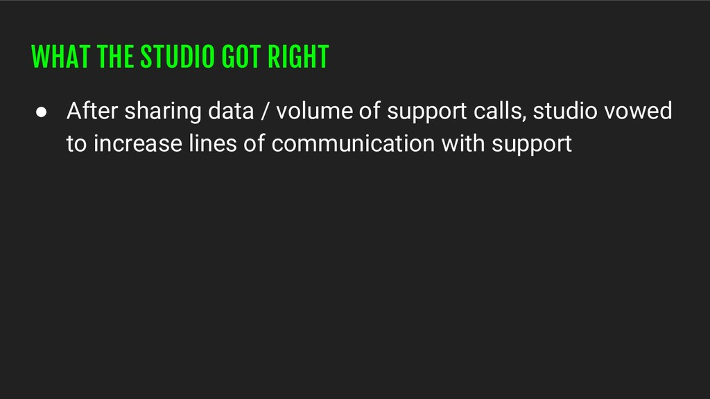 WHAT THE STUDIO GOT RIGHT ● After sharing data ...