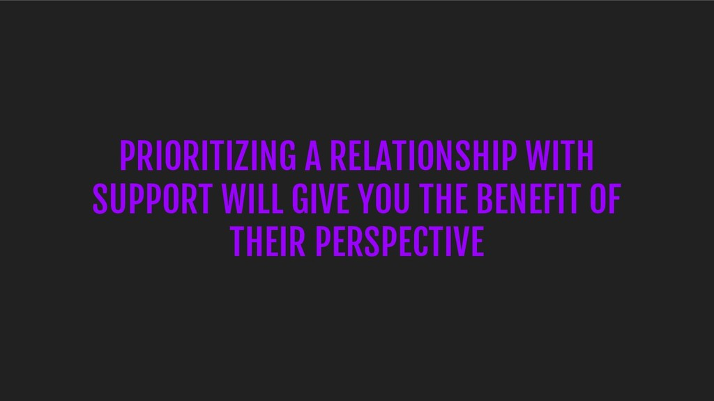 PRIORITIZING A RELATIONSHIP WITH SUPPORT WILL G...