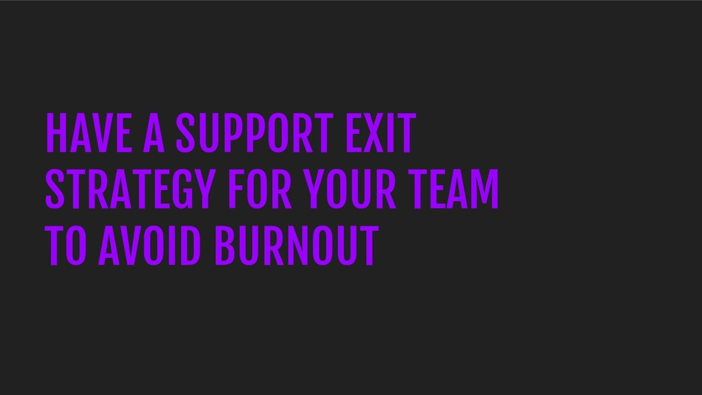 HAVE A SUPPORT EXIT STRATEGY FOR YOUR TEAM TO A...