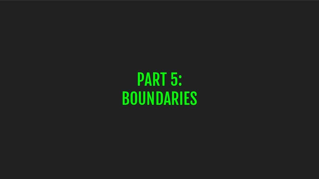 PART 5: BOUNDARIES