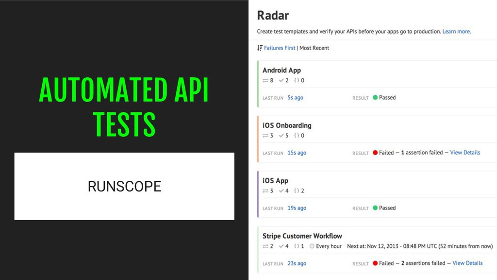 AUTOMATED API TESTS RUNSCOPE