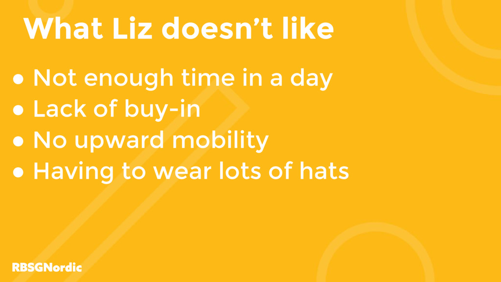 What Liz doesn't like ● Not enough time in a da...