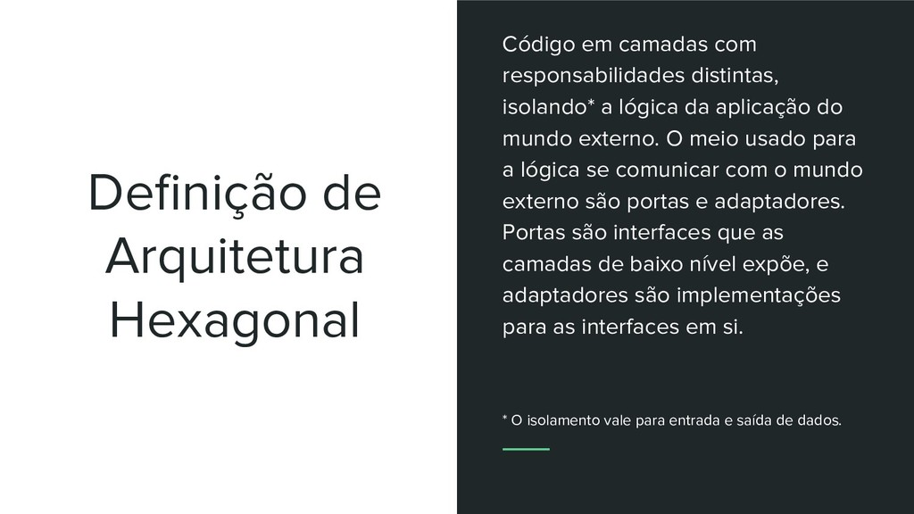 Definição de Arquitetura Hexagonal Código em cam...