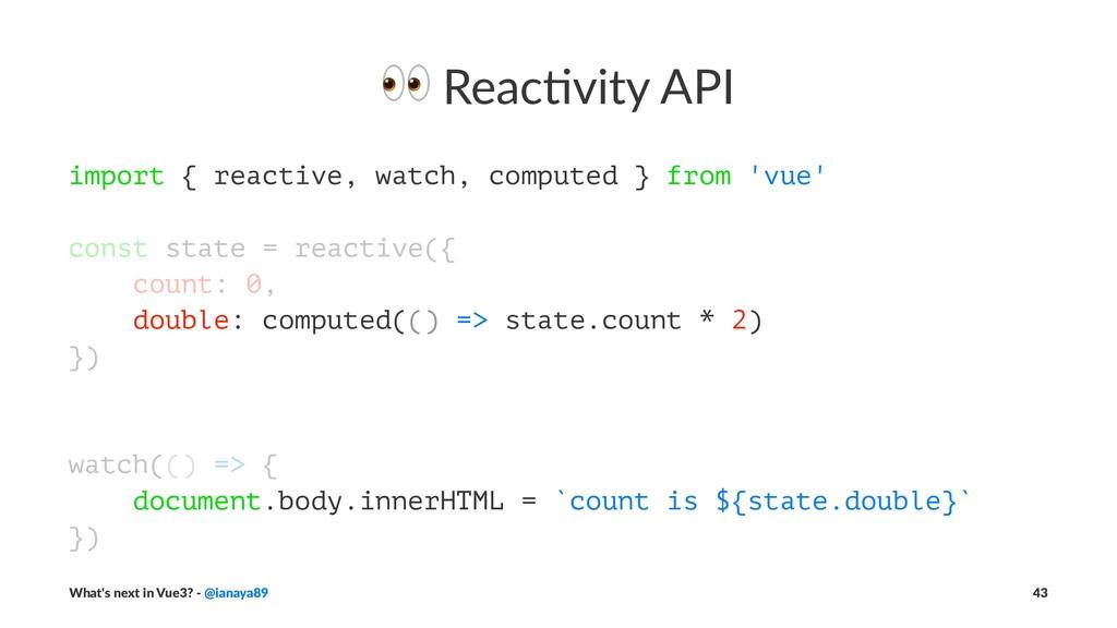 ! Reac&vity API import { reactive, watch, compu...