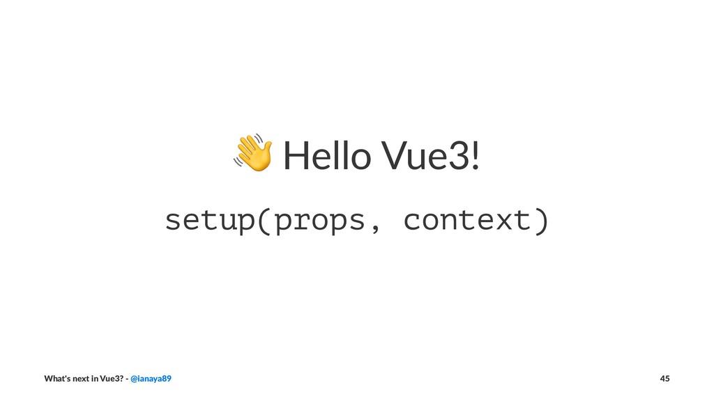 ! Hello Vue3! setup(props, context) What's next...