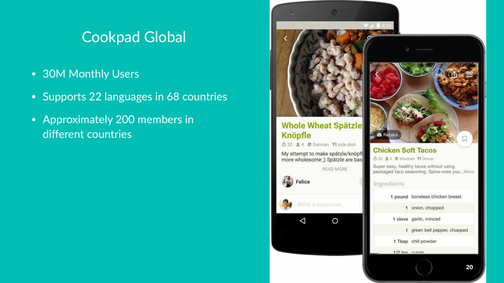 Cookpad Global • 30M Monthly Users • Supports 2...
