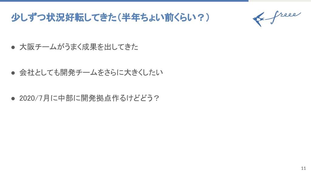 11 少しずつ状況好転してきた(半年ちょい前くらい?) ● 大阪チームがうまく成果を出してき...