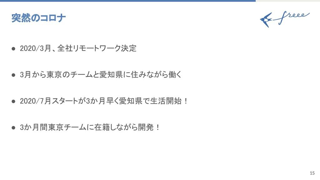 15 突然のコロナ ● 2020/3月、全社リモートワーク決定 ● 3月から東京のチームと...