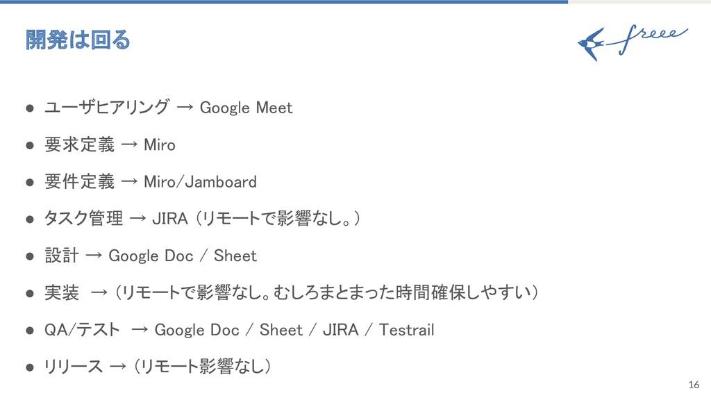 16 開発は回る ● ユーザヒアリング → Google Meet ● 要求定義 → Mi...
