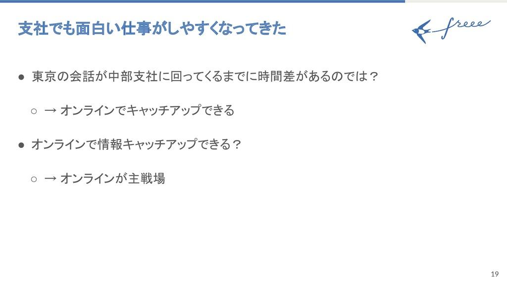 19 支社でも面白い仕事がしやすくなってきた ● 東京の会話が中部支社に回ってくるまでに時間...