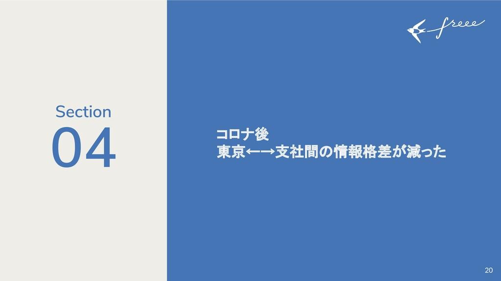 04 コロナ後 東京←→支社間の情報格差が減った 20 Section