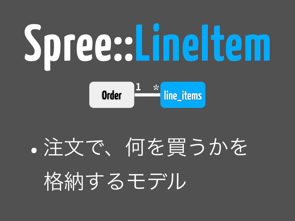 line_items 1 * Spree::LineItem •஫จͰɺԿΛങ͏͔Λ ֨ೲ͢Δ...