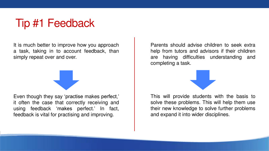Tip #1 Feedback It is much better to improve ho...