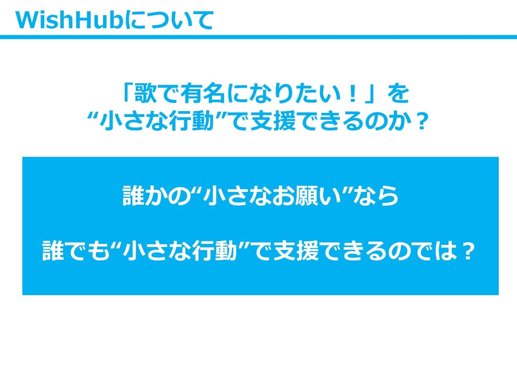 "WishHubについて 「歌で有名になりたい!」を ""小さな行動""で支援できるのか? 誰かの""..."