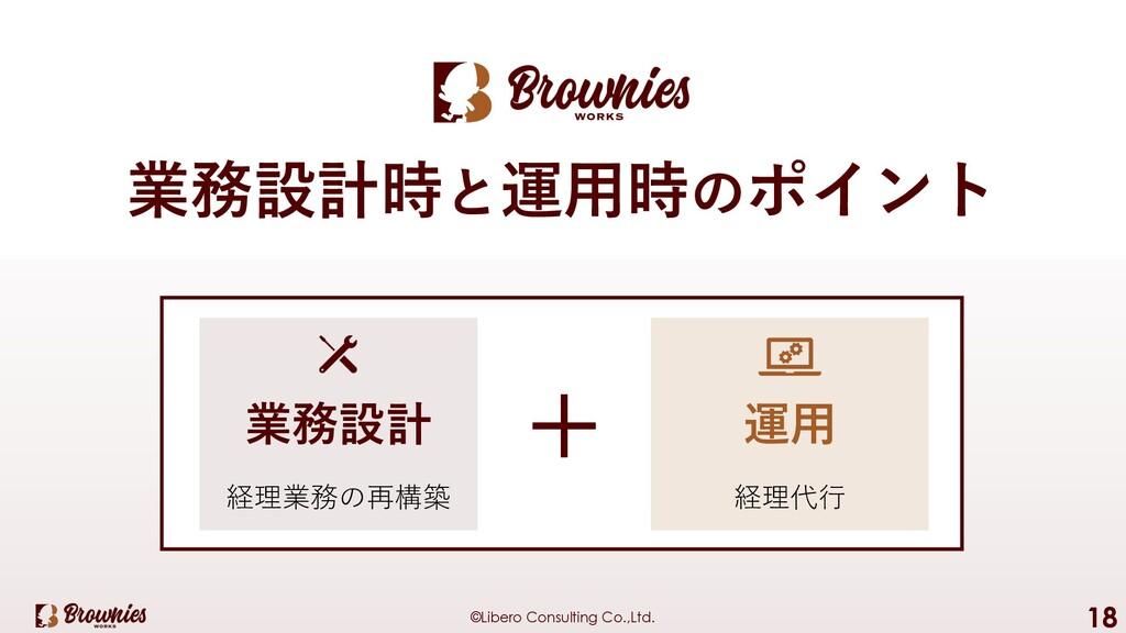©Libero Consulting Co.,Ltd. 18 業務設計時と運⽤時のポイント 業...