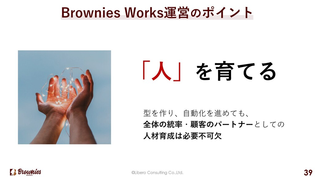 ©Libero Consulting Co.,Ltd. 39 Brownies Works運営...