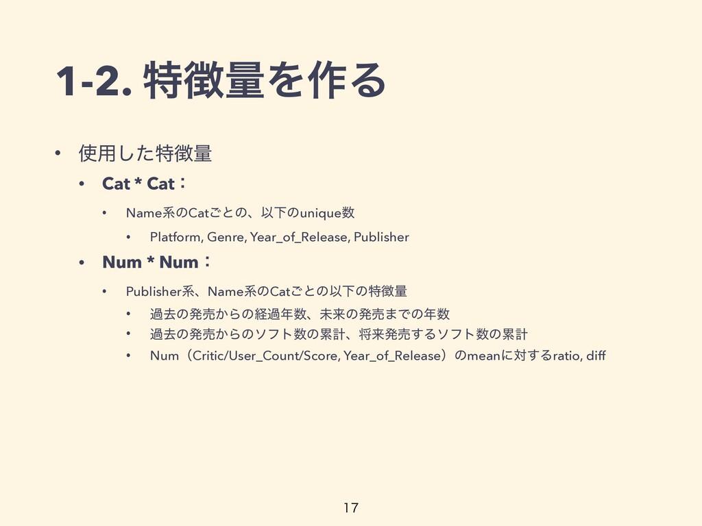 • ༻ͨ͠ಛྔ • Cat * Catɿ • NameܥͷCat͝ͱͷɺҎԼͷunique...
