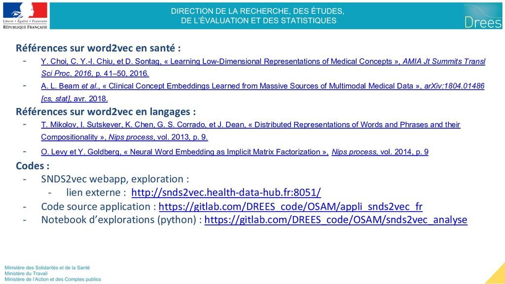 Références sur word2vec en santé : - Y. Choi, C...