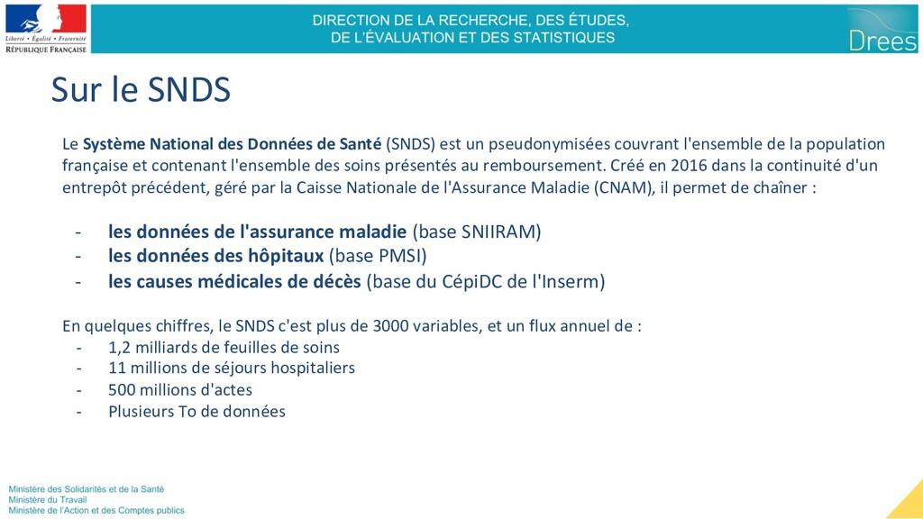 Sur le SNDS Le Système National des Données de ...