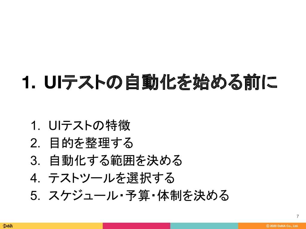 ⓒ 2020 DeNA Co., Ltd. 1. UIテストの自動化を始める前に 7 1. U...