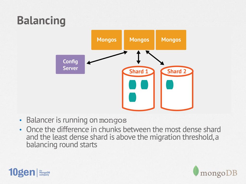 Balancing • Balancer is running on mongos! • ...