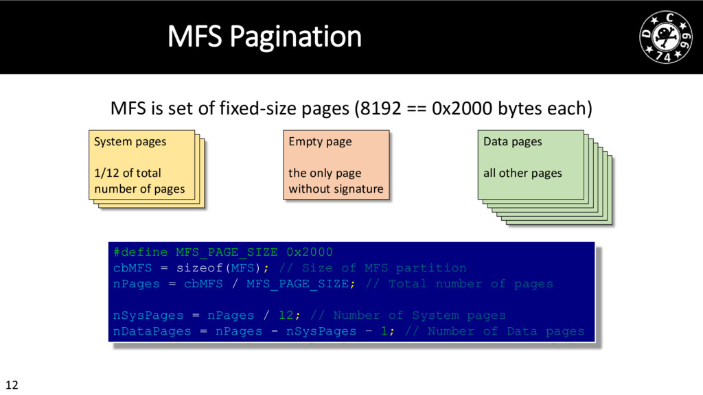 12 MFS Pagination MFS is set of fixed-size page...