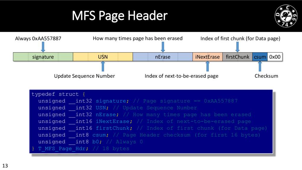13 MFS Page Header Always 0xAA557887 Update Seq...